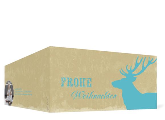 Weihnachtskarte HolyMoose (Klappkarte, DL), Außenansicht in der Farbvariante: blau