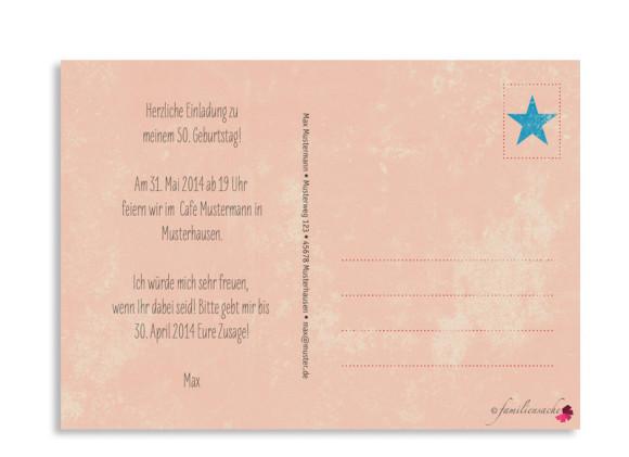 Rückseite, Einladung zum 50., Motiv Vintage Star, Farbversion: rot/blau