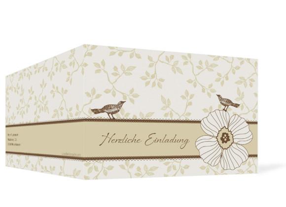 Außenansicht, Geburtstagseinladung, Motiv Birdy, Farbversion: beige/braun