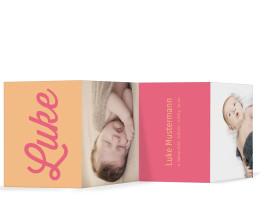 Geburtskarten Luna/Luke (Leporello) Candy/Gelb