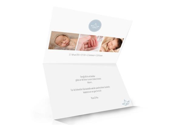 Geburtskarte, Motiv Hanni/Heinrich, Klappkarte A6,  Innenansicht, Farbversion: petrol