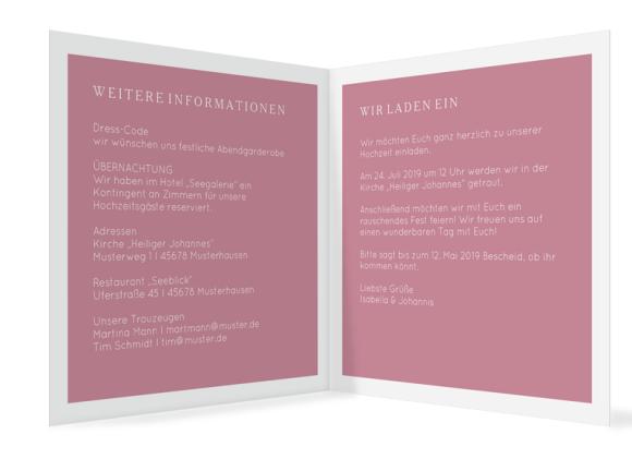 Einladungskarten zur Hochzeit (quadr. Klappkarte), Motiv: Porto, Innenansicht, Farbvariante: altrosa