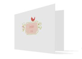 Geburtskarte Lenchen/Lenhard (Klappkarte, quer) Apricot