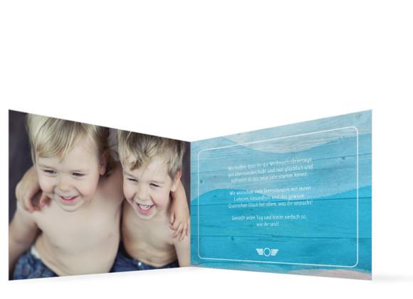 Neujahrskarten Horizont, Innenansicht der Farbversion: blau