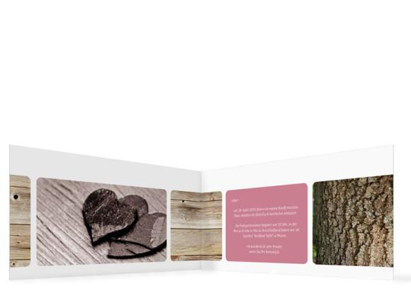 Konfirmationseinladungskarten Zürich, Innenansicht der Farbversion: altrosa