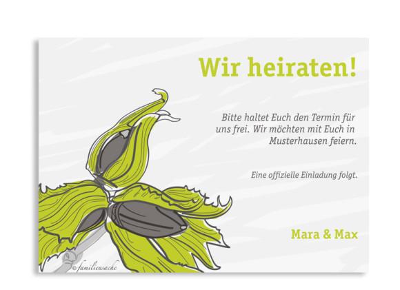 Save The Date Karten Drei Haselnüsse, Rückseite der Farbversion: grün