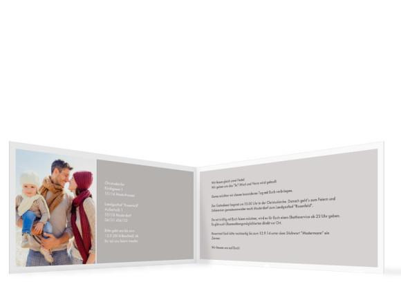 Einladung zur Taufe & Hochzeit, Motiv Athen, Innenansicht, Farbversion: grau