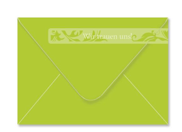 Umschlag Rückseite, Adressbanderole, Motiv Ranken, Farbversion: apfelgrün