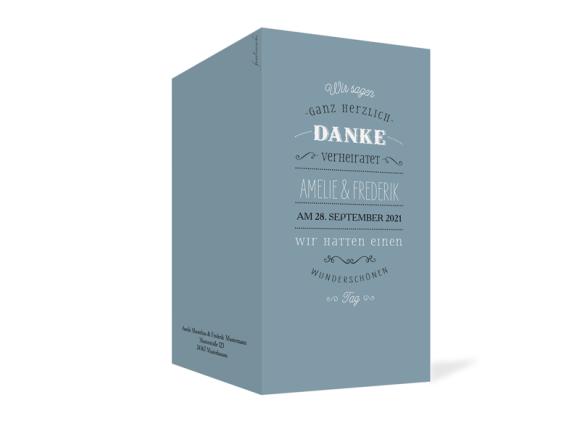 Danksagung Hochzeit (Klappkarte DL), Motiv: Rotterdam, Aussenansicht, Farbvariante: blau