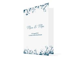 Kirchenheft Hochzeit Miami (Klappkarte) Blau