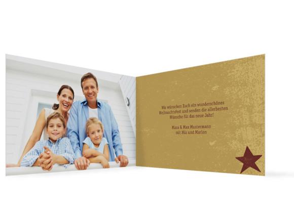 Innenansicht, Weihnachtskarte, Motiv Sterne, Farbversion: bordeaux