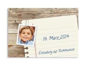 Kommunionseinladung Notizzettel (Postkarte mit Foto) Braun