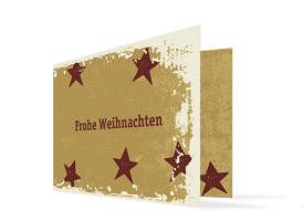 Weihnachtskarte Sterne (Klappkarte, mit Foto) Bordeaux