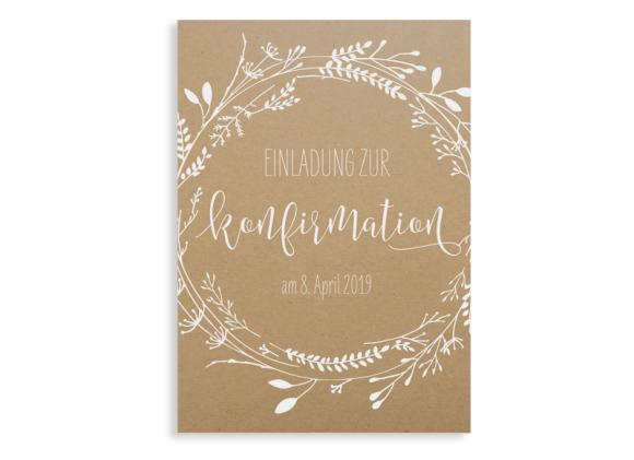 """Einladung zur Konfirmation """"Blumenkranz Natural"""""""