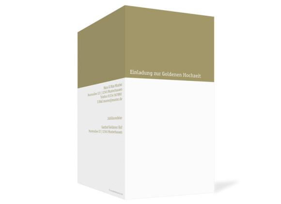 Außenansicht, Klappkarte zur Goldhochzeit (Einladung), Motiv Colour, Farbversion: beige
