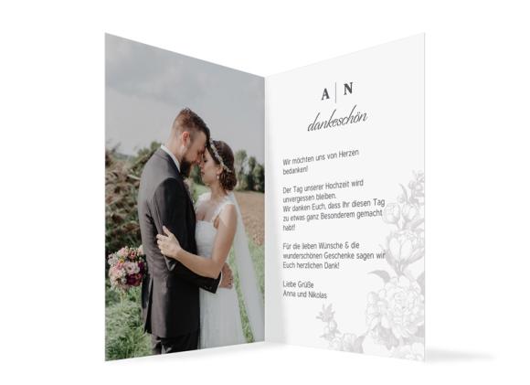 Danksagung Hochzeit (Klappkarte A6, 1 Foto), Motiv: HD Bukarest, Innenansicht, Farbvariante: anthrazit