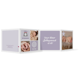 Babykarte Adele/Augustin (Leporello) Flieder
