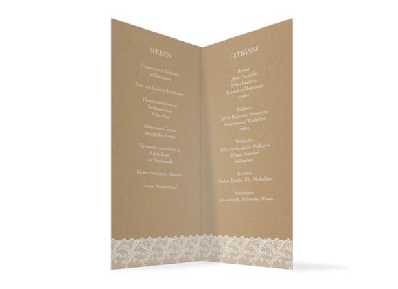 Hochzeits-Menükarte (Klappkarte DL), Motiv: Gibraltar, Innenansicht, Farbvariante: weiss