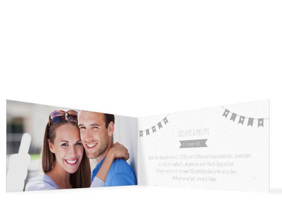 Hochzeitseinladung Wimpelkette, Klappkarte DL quer, Innenansicht in grau