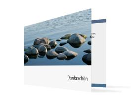 Trauerdanksagungen Steine (Klappkarte) Blau/Weiß