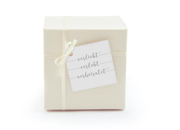 Geschenkanhänger (quadratisch, mit Lochung), Motiv: Gent Pure, Aussenansicht, Farbvariante: grau