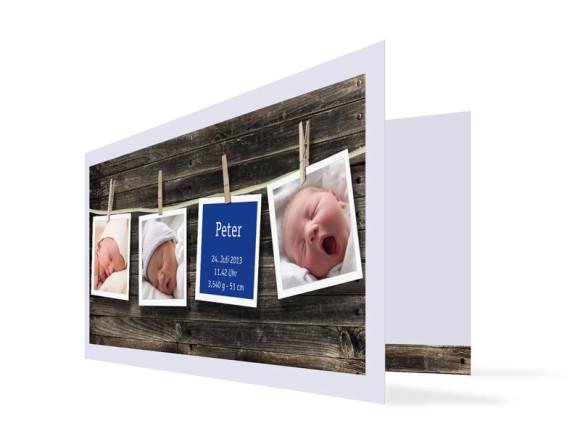 Geburtskarte Heidi/Peter (Klappkarte DIN Lang)