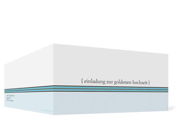 Außenansicht, Einladungs-Klappkarte zur Goldenen Hochzeit (Format DIN Lang), Motiv Cardiff, Farbversion: blau