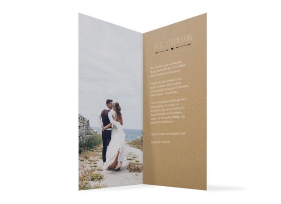 Danksagungskarten zur Hochzeit (Klappkarte DL), Motiv: Rotterdam natural, Innenansicht, Farbvariante: schwarz
