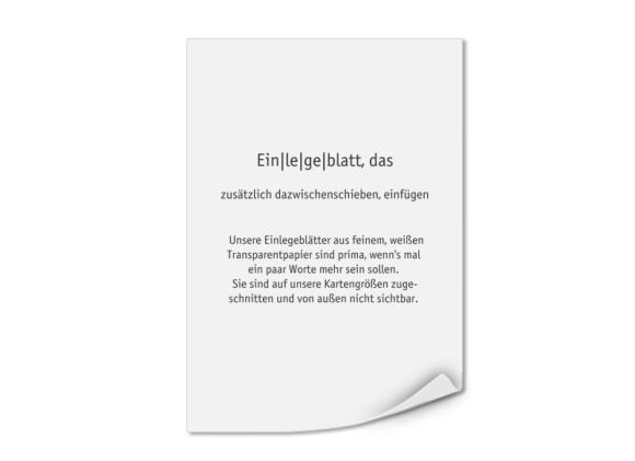 Bedruckte Einlegeblätter DIN A5 (Transparentpapier)