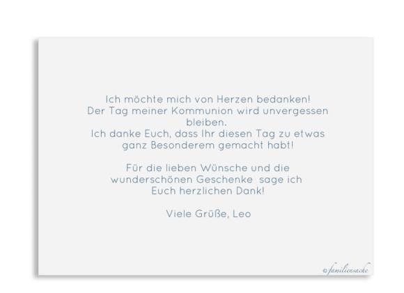 Kommunionsdanksagungen (Postkarte A6 ohne Foto), Motiv: Zweig, Rückseite, Farbvariante: dunkelblau