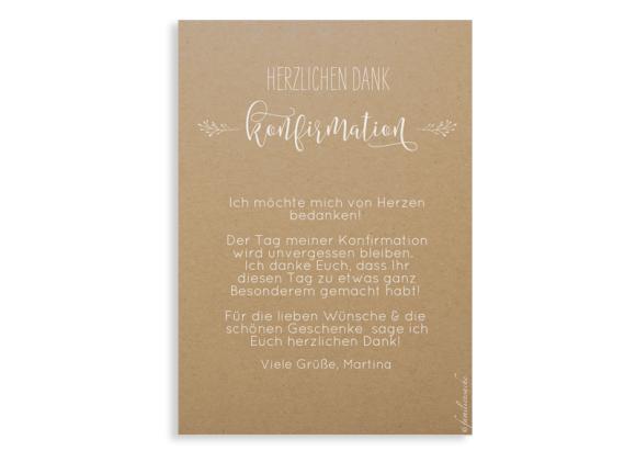 Konfirmationsdanksagung  (Postkarte A6), Motiv: Blumenkranz Natural, Rückseite, Farbvariante: weiss