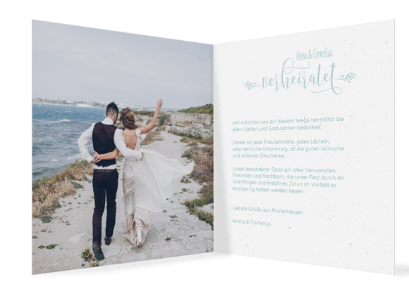 Danksagungen zur Hochzeit (Klappkarte quadratisch, mit 13 Fotos), Motiv: Blumenkranz, Innenansicht, Farbvariante: tuerkis