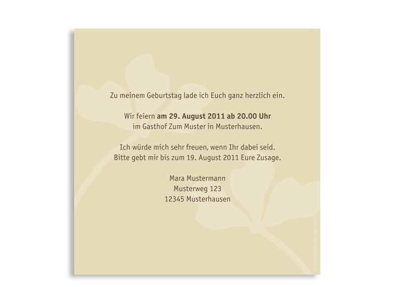 Postkarte); Rückseite, Einladungskarte, Motiv Growing, Farbversion: Beige