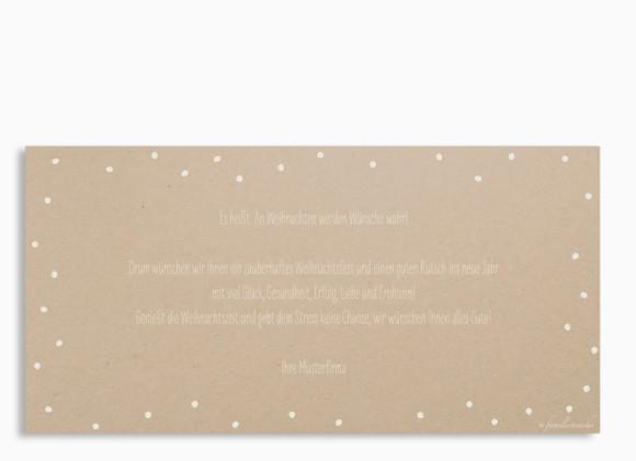 Firmen-Weihnachtskarte Weihnachtskette (Postkarte), Rückseite in der Farbvariante: altweiß