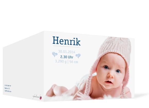 Geburtskarten, Motiv Hanna/Henrik ohne Fahne, Außenansicht, Farbversion: blau
