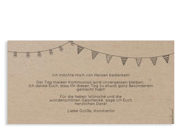 Kommunionsdanksagung (Postkarte DL quer), Motiv: Wimpelchen, Rückseite, Farbvariante: schwarz