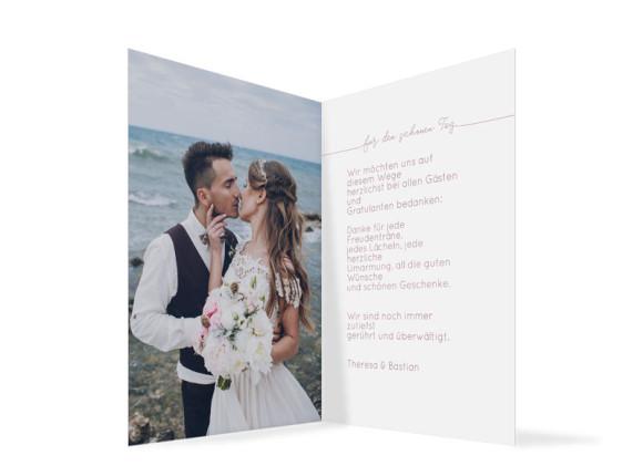 Danksagung zur Hochzeit (Klappkarte A6), Motiv: Warschau, Innenansicht, Farbvariante: Altrosa