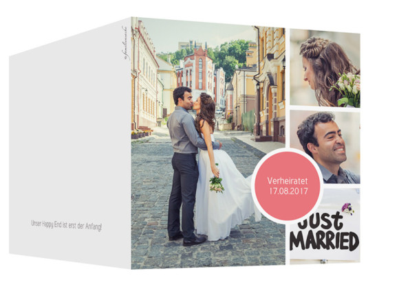 Hochzeit Danksagungskarten Circle, Außenansicht in Pfirsich