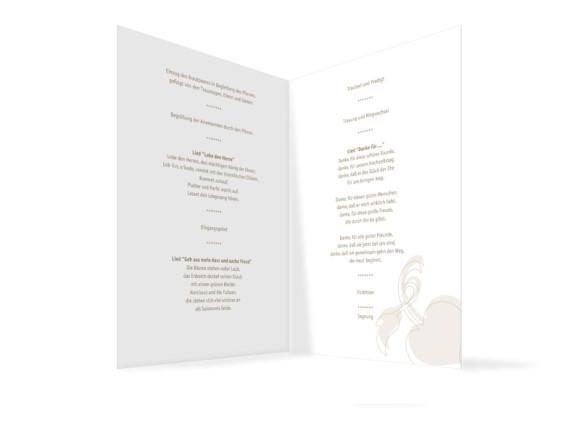 Innenansicht, Klappkarte zur Hochzeit (Kirchenheft), Motiv Oslo, Farbversion: beige
