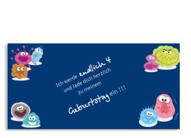Einladungskarte Monster (Postkarte) Blau