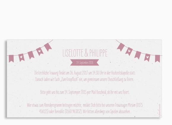 Einladung zur Hochzeit Wimpelkette (Postkarte DL), Rückseite in altrosa