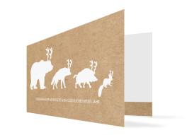 Weihnachtskarte Waldtiere (Klappkarte)