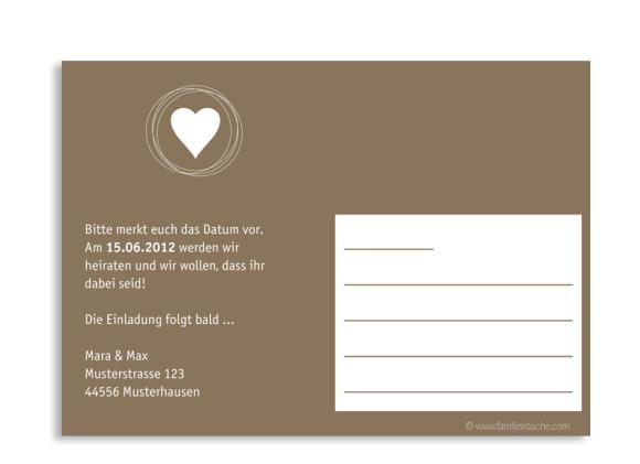 Rückseite, Einladungs-Postkarte zur Hochzeit, Motiv Pur, Farbversion: beige/weiß