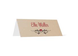 Tischkarte zur Hochzeit Hirsch beige