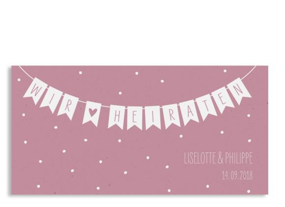 Einladung zur Hochzeit Wimpelkette (Postkarte DL)