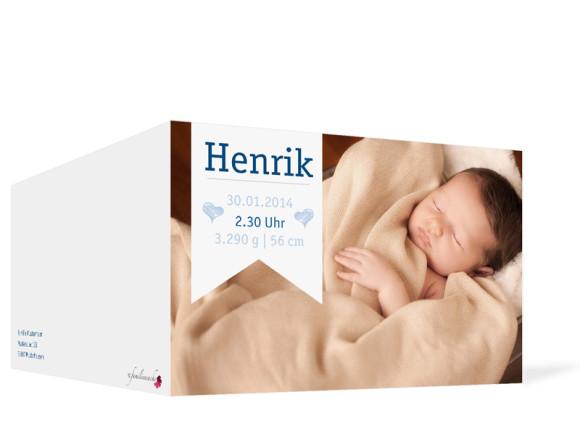 Geburtskarten, Motiv Hanna/Henrik, Außenansicht, Farbversion: blau