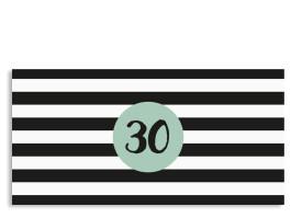 Einladungskarte Lucky Stripes zum 30. Geburtstag (Postkarte, DL) Pistazie
