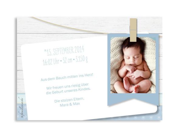 Geburtskarten Lotte/Lukas, Rückseite der Farbversion: blau/türkis