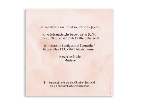 Einladungskarten 50. Geburtstag, Motiv: Dots 'n Stripes, (quadratische Postkarte), Rückseite, Farbvariante:  apricot