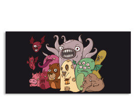 Halloweenkarte Monster1 (Postkarte) Grün
